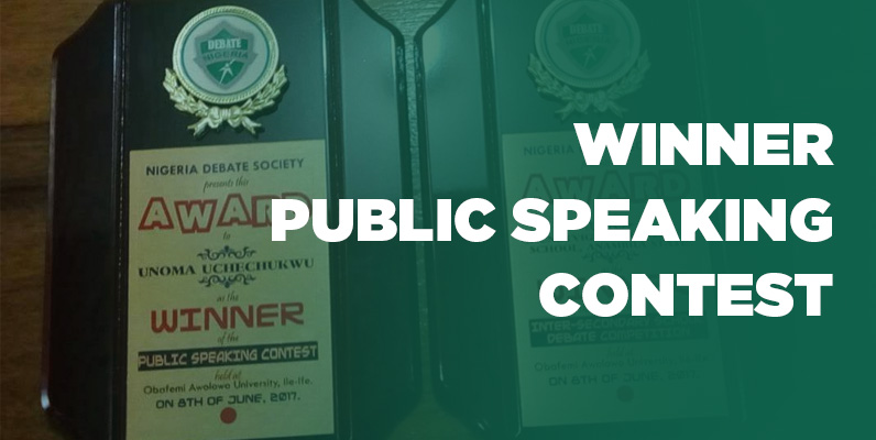 Grundtvigs Unoma Uchechukwu Winner Public Speaking Contest Nigeria Debate Society