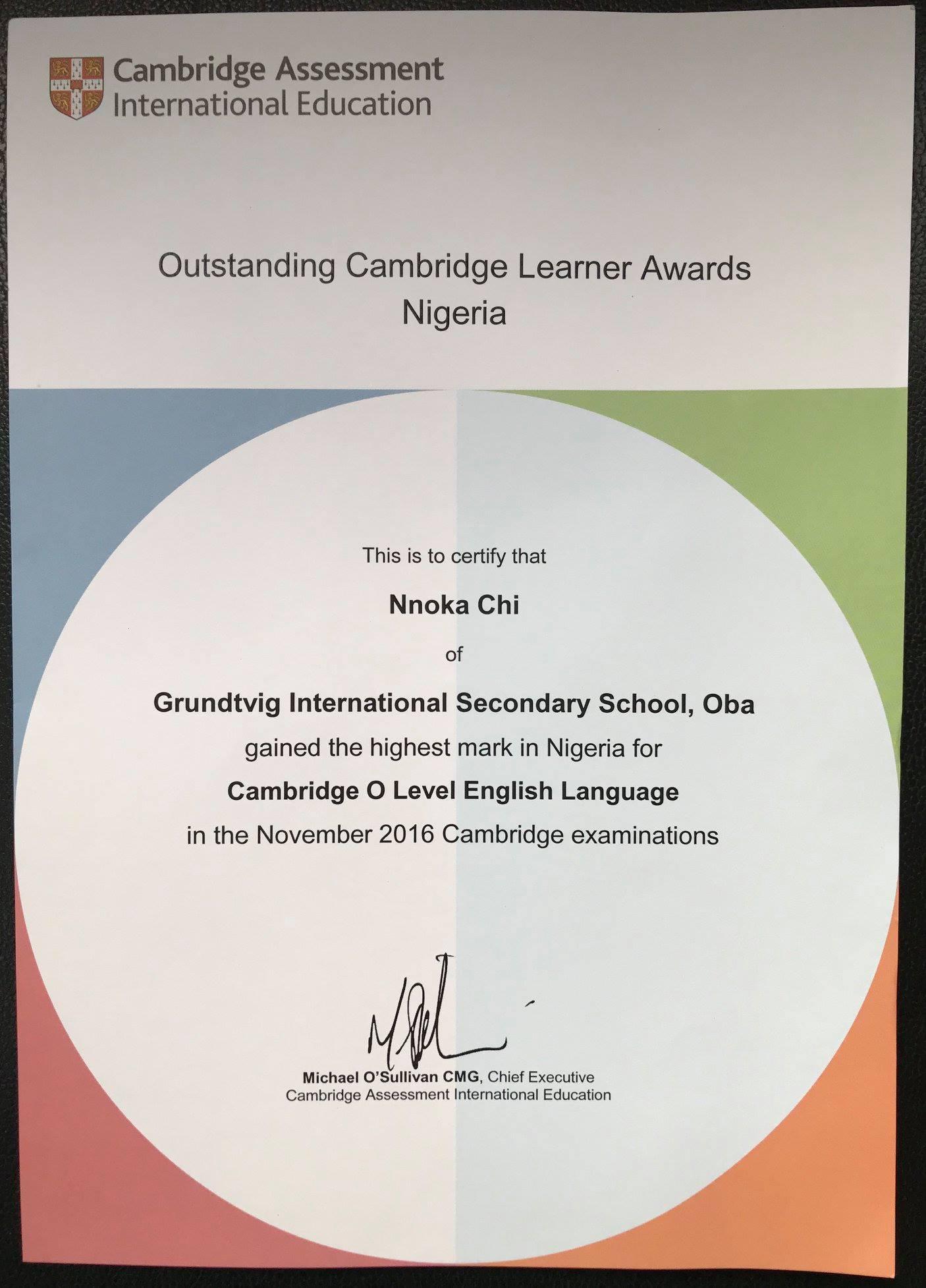 Outstanding Cambridge Learner Awards 2