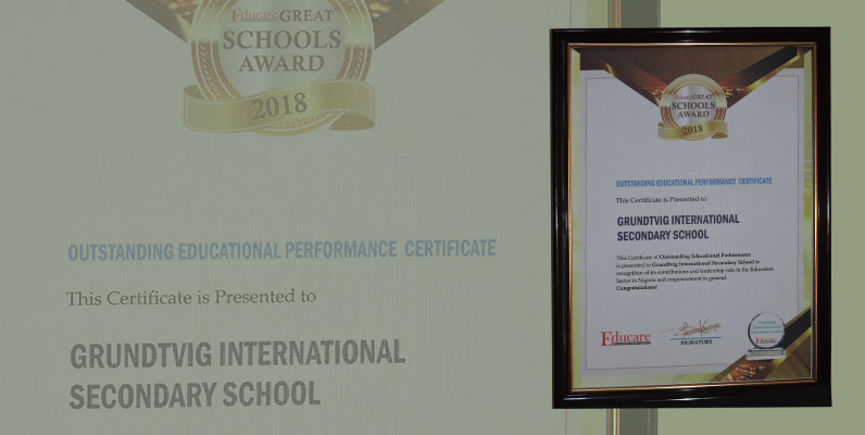 Educare Great Schools Award of Excellence for Outstanding Educational Performance