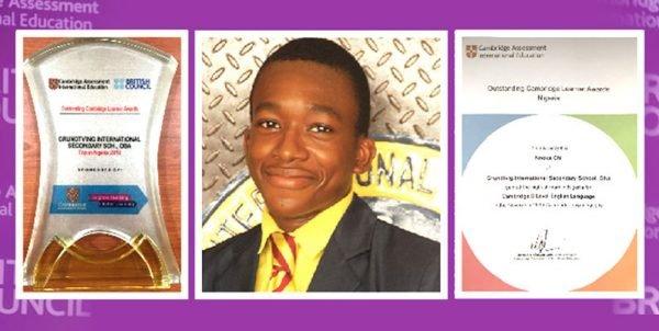 Top in Nigeria in English Language at Cambridge International Exams