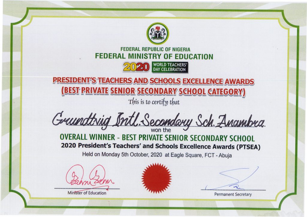 GRUNDTVIG WINS PRESIDENTIAL AWARD AS THE OVERALL BEST PRIVATE SECONDARY SCHOOL IN NIGERIA